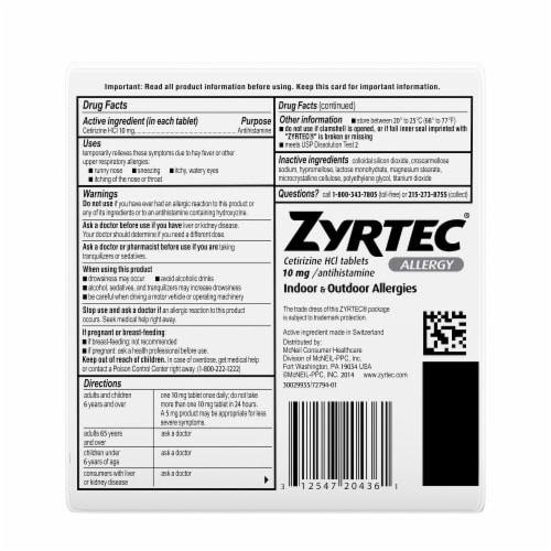 Zyrtec 24-Hour Allergy Relief 10mg Tablets Perspective: right