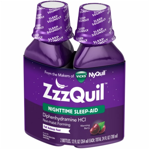 Vicks ZzzQuil Warming Berry Flavor Nighttime Sleep-Aid Liquid Perspective: right