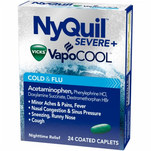 Vicks NyQuil VapoCOOL Severe Cold & Flu Nighttime Relief Coated Caplets Perspective: right