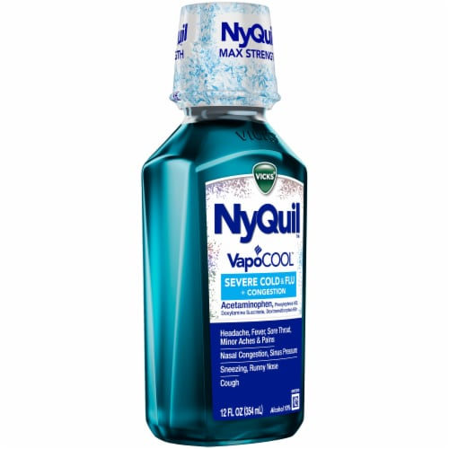 Vicks NyQuil VapoCOOL SEVERE Cold Flu and Congestion Medicine Menthol Flavor Liquid Perspective: right