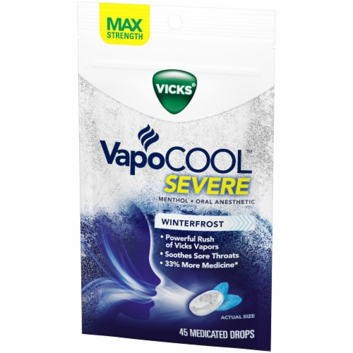 Vicks Winterfrost Severe VapoCOOL Oral Anesthetic Medicated Drops Perspective: right