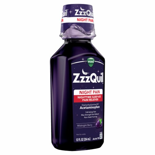 Vicks ZzzQuil Night Pain Midnight Berry Flavor Nighttime Sleep-Aid Pain Reliever Perspective: right