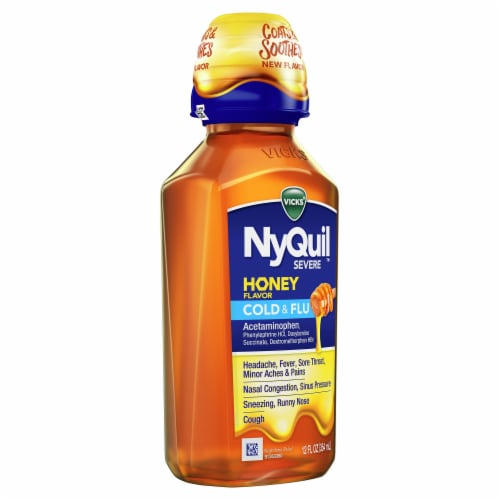 Vicks NyQuil SEVERE Honey Cold & Flu Multi-symptom Nighttime Relief Medicine Max Strength Liquid Perspective: right