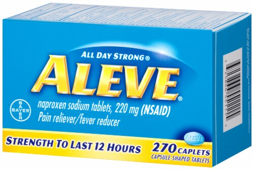 Aleve Naproxen Sodium Pain Reliever/Fever Reducer 220mg caplets Perspective: right