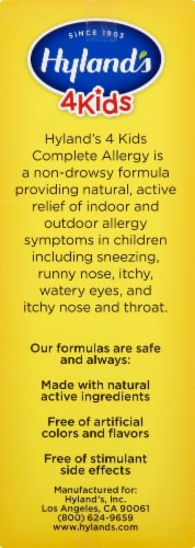 Hyland's 4 Kids Complete Allergy Daytime Natural Relief Perspective: right