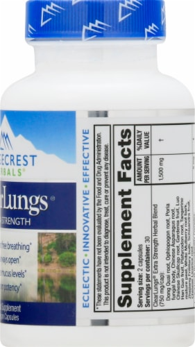 Ridgecrest Herbals ClearLungs Extra Strength Vegan Capsules Perspective: right