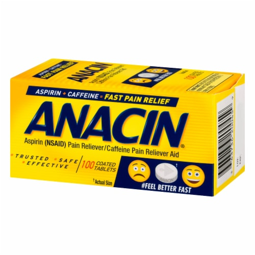 Anacin Aspirin Fast Pain Relief Coated Tablets Perspective: right