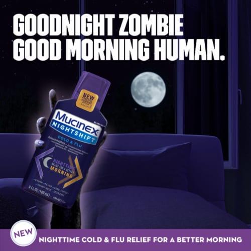 Mucinex Nightshift Cold & Flu Multi-Symptom Relief Liquid Medicine Perspective: right