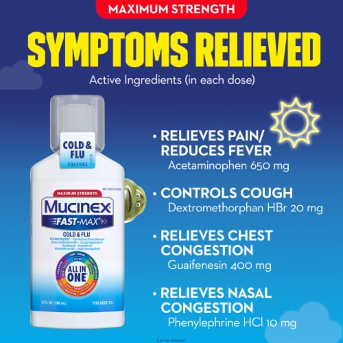 Mucinex Fast-Max Cold & Flu All-in-One Maximum Strength Multi-Symptom Relief Liquid Medicine Perspective: right