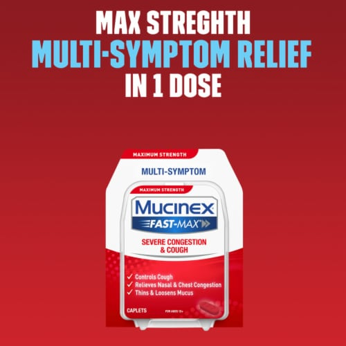 Mucinex Fast-Max Adult Severe Congestion and Cough Multi-Symptom Relief Medicine Caplets Perspective: right