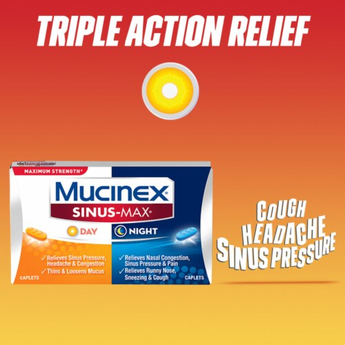 Mucinex Sinus-Max Max Strength Day & Night Sinus Pressure and Congestion Medicine Caplets Perspective: right