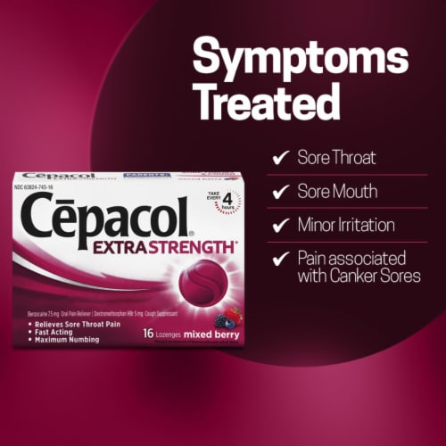 Cepacol Extra Strength Sore Throat & Cough Reliever Mixed Berry Flavored Lozenges Perspective: right