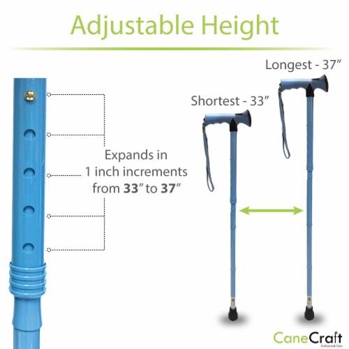 T-Handle Adjustable Folding Cane - Aqua Blue Perspective: right