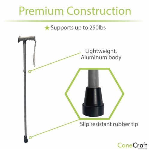 T-Handle Adjustable Folding Cane - Pearl Grey Perspective: right