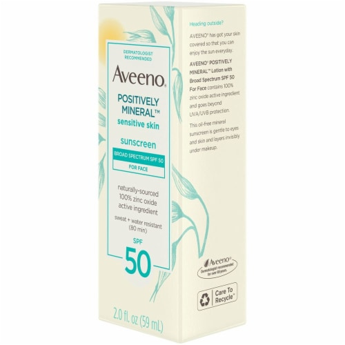 Aveeno Positively Mineral Sensitive Skin Face Sunscreen Lotion SPF 50 Perspective: right