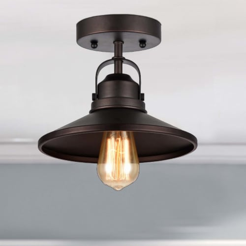 IRONCLAD Industrial-style 1 Light Rubbed Bronze Semi-flush Ceiling Fixture 9  Shade Perspective: right
