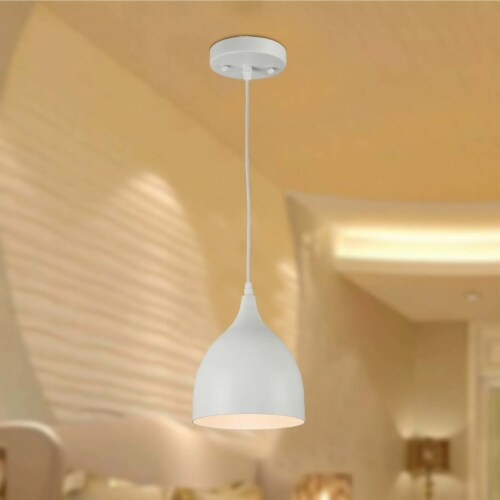 WALTER Industrial Matt White 1 Light Ceiling Pendant 7  Wide Perspective: right