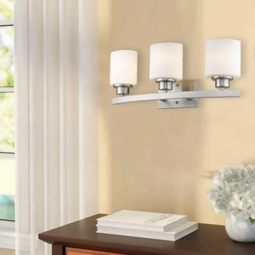 AALIYAH Contemporary 3 Light Brushed Nickel Opal White Glass 23  Wide Perspective: right