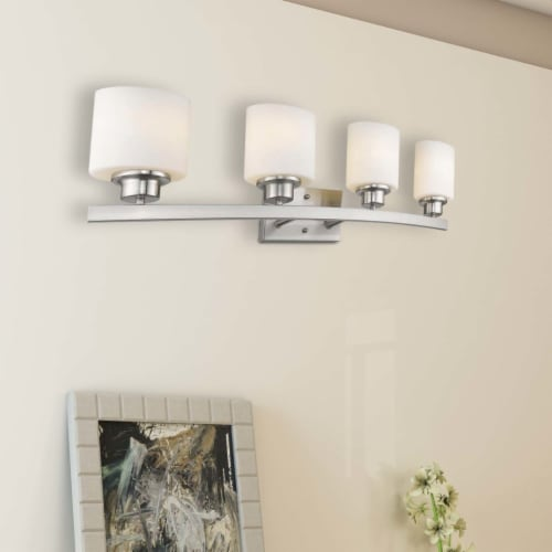 AALIYAH Contemporary 4 Light Brushed Nickel Opal White Glass 32  Wide Perspective: right