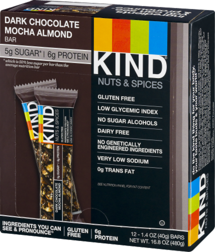 KIND Nuts & Spices Dark Chocolate Mocha Almond Bars Perspective: right
