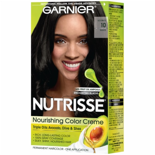 Garnier Nutrisse Nourishing Color Creme 10 Licorice Black Hair Color Perspective: right