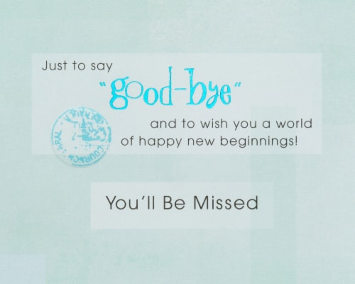 American Greetings New Beginnings Card (Congratulations Goodbye) Perspective: right