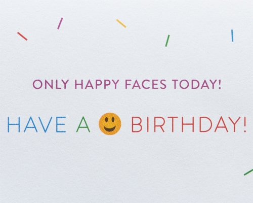 Papyrus #45 Birthday Card (Emojis) Perspective: right