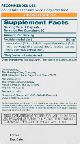 Himalaya Hello Energy Adrenal Support With Ashwagandha Vegetarian Capsules Perspective: right