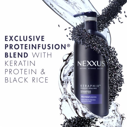 Nexxus® Silicone-Free Keraphix with ProteinFusion Black Rice Shampoo for Damaged hair Perspective: right