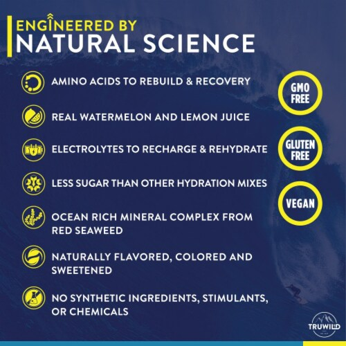 Hydrate Electrolyte + Amino Acids Drink Mix Powder - Natural Lemon & Watermelon Juice Perspective: right