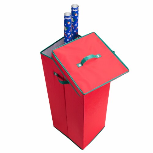 Wrapping Paper Storage Box with Lid Holds 20 Rolls 30 Inches Tall Organizer Perspective: right