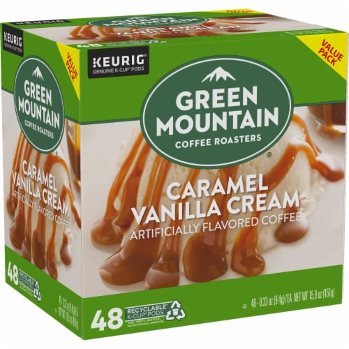 Green Mountain Coffee Caramel Vanilla Cream K-Cup Pods Perspective: right