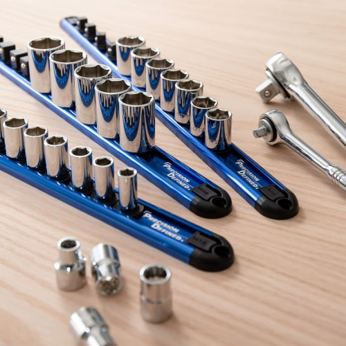 Precision Defined Aluminum Tool Socket Holder | Blue, Single 3/8  x 16 Clips Perspective: right