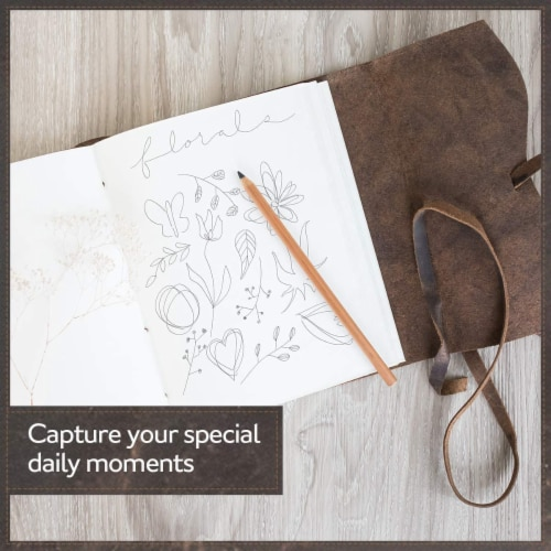 """Genuine Leather Journal Notebook, Unlined 120 Pages, Handmade Leather Bound (8"""" x 6"""") Perspective: right"""