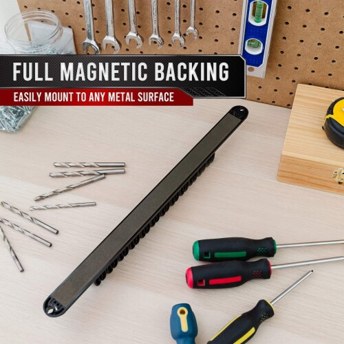 PD Magnetic Screwdriver Organizer, Tool Tray Holder Rack, Premium Ultra Strong Magnet (Black) Perspective: right