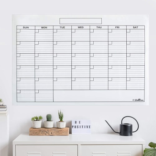 WallDeca Monthly Dry Erase Wall Calendar Planner Whiteboard: Wipe Off Erasable Calendar Perspective: right