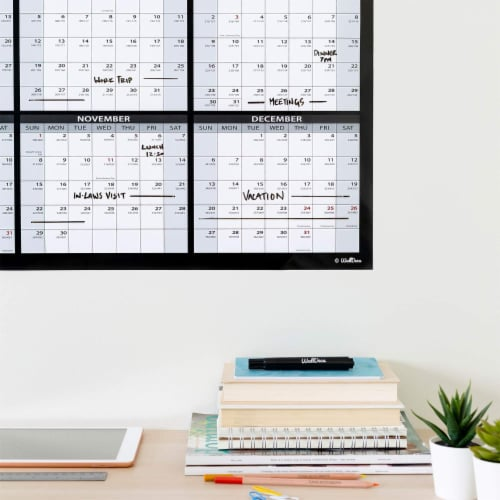 Large Annual Erasable Laminated Wall Calendar, 24 x 36 Inch, 2-Sided Reversible Perspective: right
