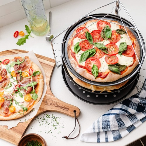 Chef Pomodoro Pizza Baking Set with 3 Pizza Pans and Pizza Tray, Non-Stick, for Oven Perspective: right