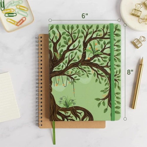 Rileys Tree of Life Journal Notebook, 8  x 6 , Unlined 120 Pages, Ivory Paper Perspective: right