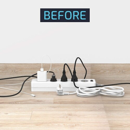 ZBRANDS White Large Cable Management Box with Cooling Window   Hide Cords, Power Strips Perspective: right