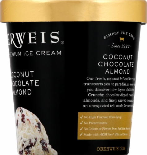 Oberweis Coconut Chocolate Almond Ice Cream Perspective: right