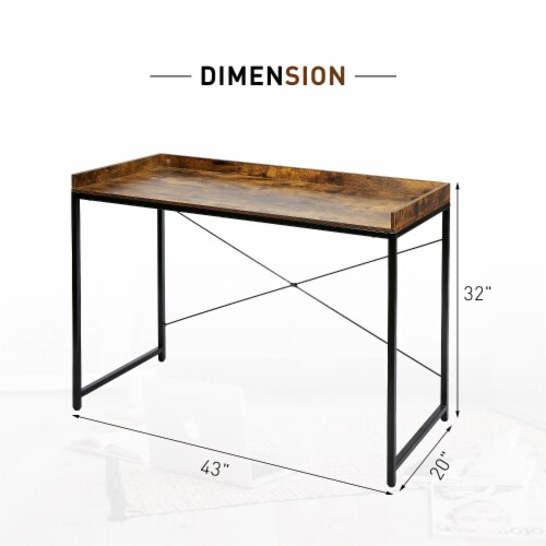 43 Inches Modern Industrial Computer Desk Wood Rustic Furniture for Home Office Perspective: right