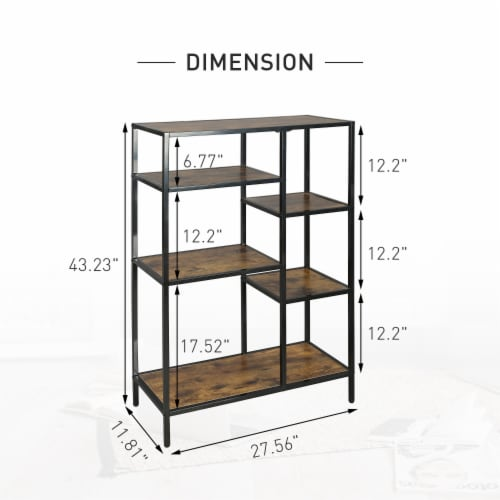 6-Open Bookshelf Bookcase Display Shelf Storage Organizer(Brown) Perspective: right