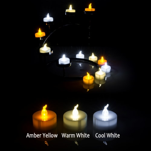 AGPtek 24 PCS LED Tealight Timer Warm White Candles Flameless Flickering Perspective: right