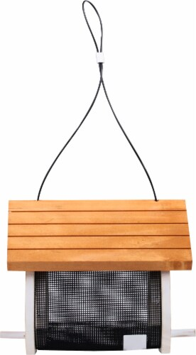 Stokes Select Cute Cling Wood Bird Feeder - White/Brown Perspective: right