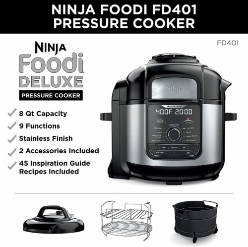 Ninja® Foodi Deluxe Cooker - Black/Silver Perspective: right