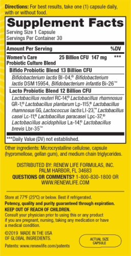 Renew Life Women's Care Ultimate Flora Probiotic  Vegetable Capsules Perspective: right