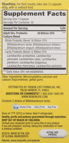 Renew Life® Ultimate Flora™ Probiotic Adult 50+ Probiotic Supplement Vegetarian Capsules Perspective: right