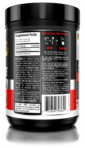 Six Star Elite Series 100% Creatine Unflabored Dietary Supplement Perspective: right