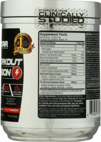 Six Star Pre-Workout Explosion Fruit Punch Flavored Sports Supplement Perspective: right